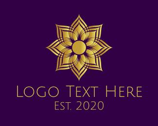 Thai Restaurant - Golden Mandala Flower logo design
