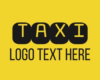 Taxi - Black & Yellow Taxi Text logo design
