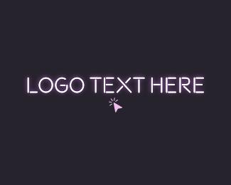 Tap - Click Neon Light Wordmark logo design