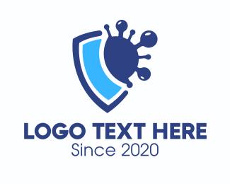 Safety - Blue Virus Protection Shield logo design