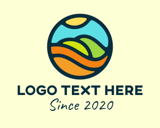 Plain - Round Mountain Landscape logo design
