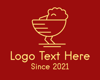 Fried Chicken - Yellow Chick Line Art logo design