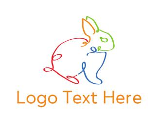 Ribbon - Strings Bunny logo design