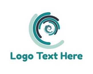 Curve - Blue Spiral logo design