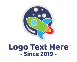 Space Travel - Cute Space Rocket  logo design