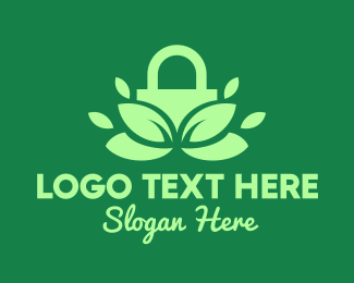 Secure - Green Eco Security Lock logo design