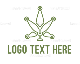 Marijuana Leaf - Green Weed Tech logo design