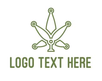 Weed - Cannabis Weed Tech logo design