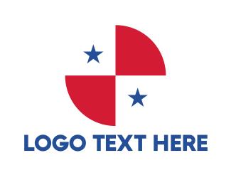Air Travel - Circle Panama Flag logo design