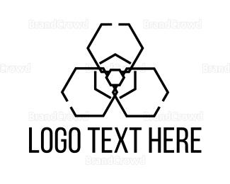 Toxic - Radiation Hexagon logo design