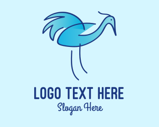 Egret - Blue Crane Bird  logo design