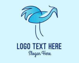 Crane - Blue Crane Bird logo design