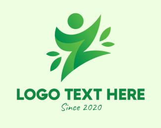 Yoga Training - Green Healthy Person Letter Z logo design