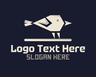 Sparrow - White Geometric Sparrow logo design