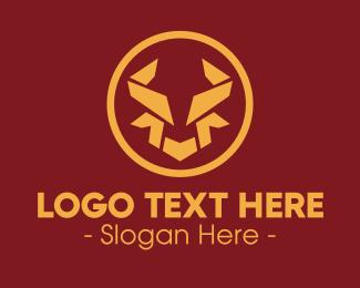 Bull Horns - Geometric Bull Horns logo design