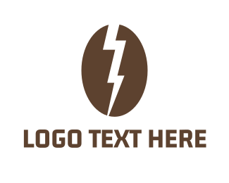 Brown Coffee Bean - Electric Coffee Bean logo design