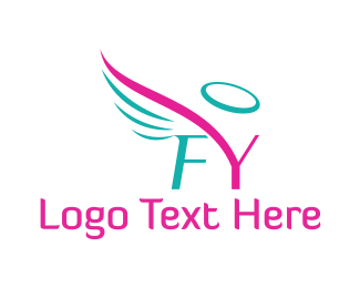 Angel - F&Y Angel Halo Wings logo design