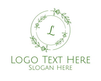 Cemetery - Green Organic Wreath Lettermark logo design