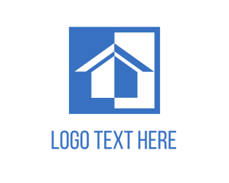 Renovation - White & Blue House logo design