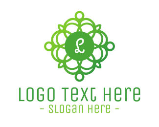 Preservation - Green Gradient Wreath Lettermark logo design