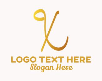 Handwriting - Gold Handwriting Letter X logo design