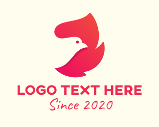 Bird - Pink Bird Flame logo design