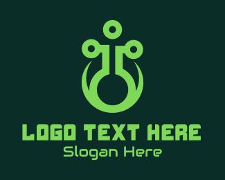 Biotechnology - Green Laboratory Flask logo design