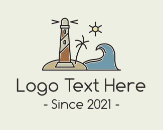 Tsunami - Coastal Wave Lighthosue logo design