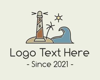 Aquatic - Coastal Wave Lighthosue logo design
