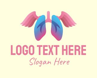 Inhale - Pink Lung Wings logo design
