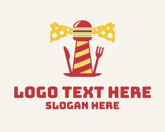 Beacon - Cheeseburger Lighthouse logo design