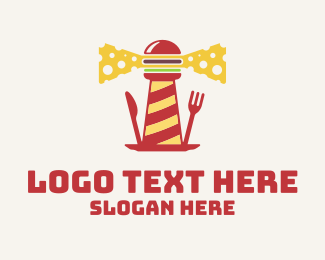 Burgers - Cheeseburger Lighthouse logo design