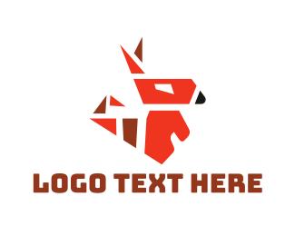 Red Geometric Fox Logo