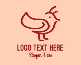 Finch - Minimalist Red Bird logo design