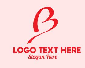 Brand - Pink Heart Letter B logo design
