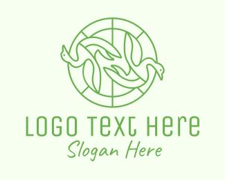 Swan - Green Swan Circle logo design