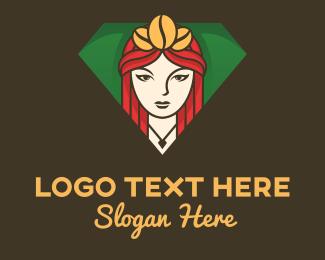 Opulent - Coffee Bean Crown Lady logo design