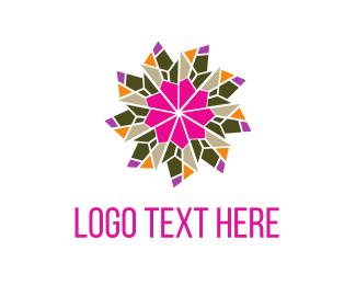 Kaleidoscope - Flower & Crystals logo design