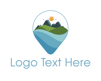 Water - Mountain Landscape logo design