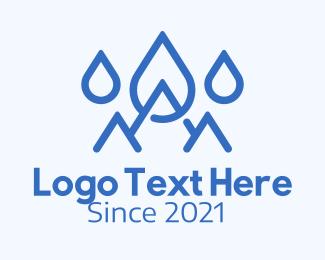 Rain - Blue Water Mountain logo design