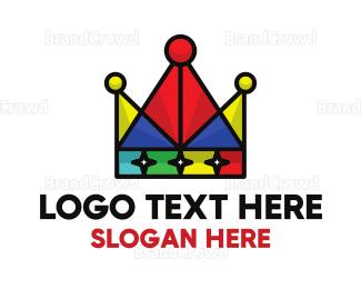 Designer - Colorful Triangle Crown logo design
