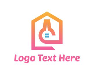 Scientist - Pink Lab House logo design