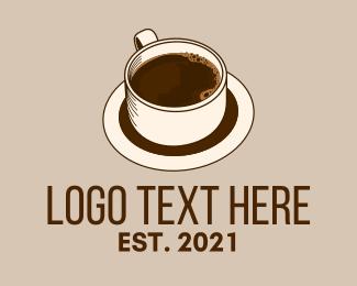 Cafe Americano - Dark Coffee Line Art logo design