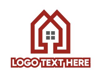 Rent - Red Apartment  logo design