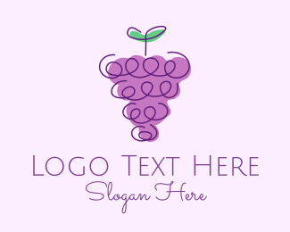 Fruit Store - Grape Fruit Line Art  logo design