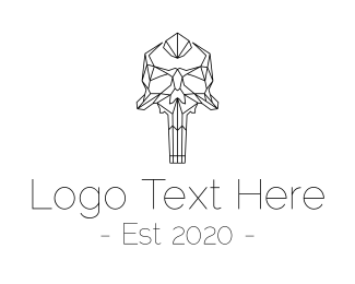 Tattoo - Black & White Skull Monoline logo design