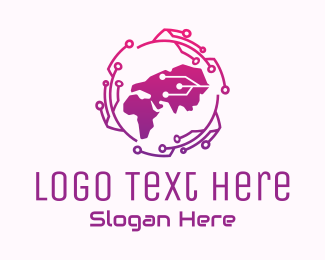 Data Technology - Global Tech Map logo design