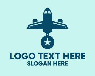 Medal Of Valor - Blue Airplane Medal logo design