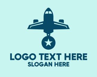 Aeroplane - Blue Airplane Medal logo design