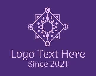 Tarot Card Reader - Astrology Celestial Sun  logo design